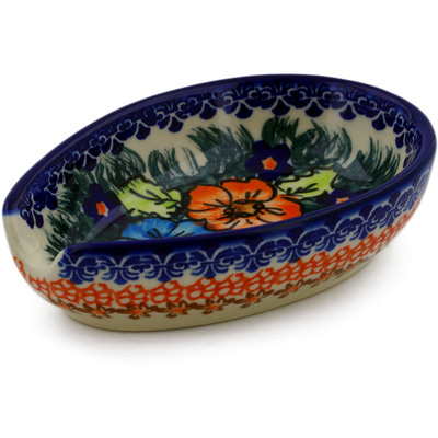 "Polish Pottery Spoon Rest 5"" Butterfly Splendor UNIKAT"
