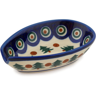 "Polish Pottery Spoon Rest 5"" Cranberries And Evergree"