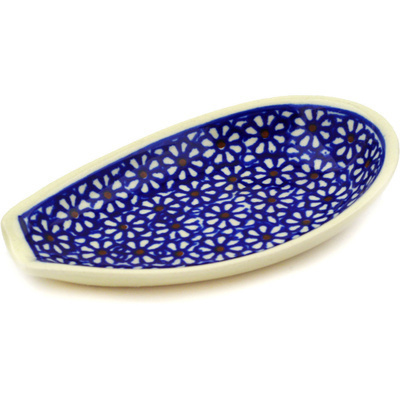 "Polish Pottery Spoon Rest 5"" Daisy Dreams"