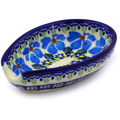 "Polish Pottery Spoon Rest 5"" Pansy Morning"