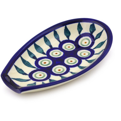 "Polish Pottery Spoon Rest 5"" Peacock Leaves"