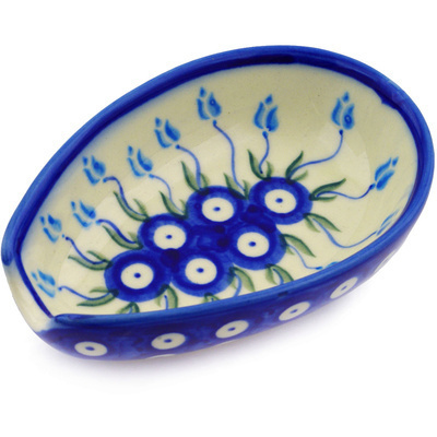 "Polish Pottery Spoon Rest 5"" Peacock Tulip Garden"