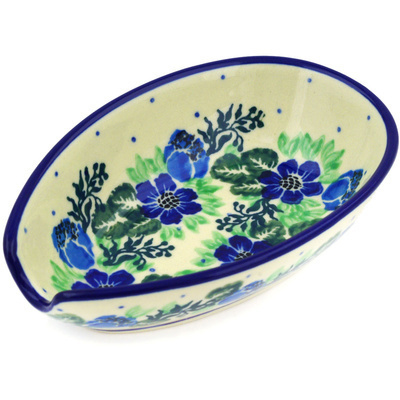 "Polish Pottery Spoon Rest 5"" Polish Wreath"