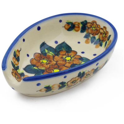 "Polish Pottery Spoon Rest 5"" Red Bouquet"