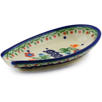 "Polish Pottery Spoon Rest 5"" Spring Flowers"