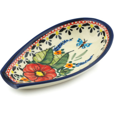 "Polish Pottery Spoon Rest 5"" Spring Splendor UNIKAT"
