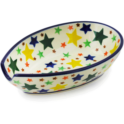 "Polish Pottery Spoon Rest 5"" Star Fiesta"