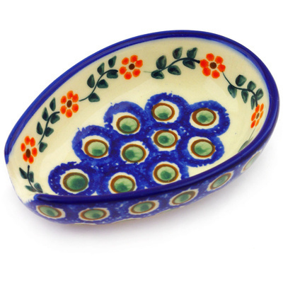 "Polish Pottery Spoon Rest 5"" Sunflower Peacock"