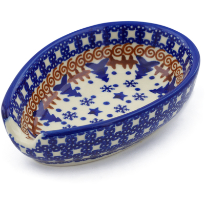 "Polish Pottery Spoon Rest 5"" Winter Snow"