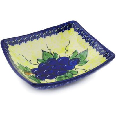 "Polish Pottery Square Bowl 5"" Garden Grapes"