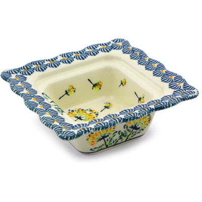 "Polish Pottery Square Bowl 5"" Yellow Dandelions"