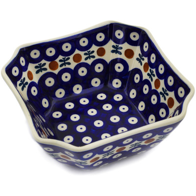 "Polish Pottery Square Bowl 6"" Mosquito"
