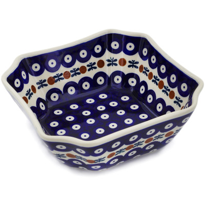 "Polish Pottery Square Bowl 7"" Mosquito"