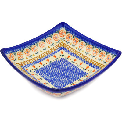 "Polish Pottery Square Bowl 8"" Amarillo"