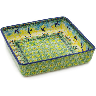 "Polish Pottery Square Bowl 8"" Birds In The Sunset UNIKAT"