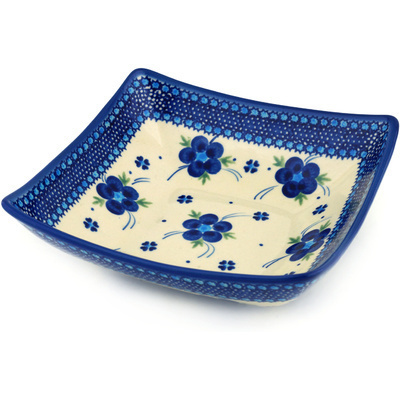 "Polish Pottery Square Bowl 8"" Bleu-belle Fleur"