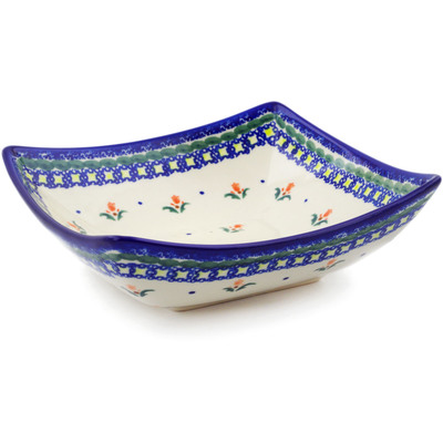 "Polish Pottery Square Bowl 8"" Cocentric Tulips"