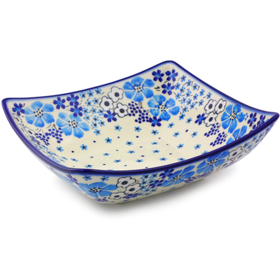 "Polish Pottery Square Bowl 8"" Pansy Dawn"