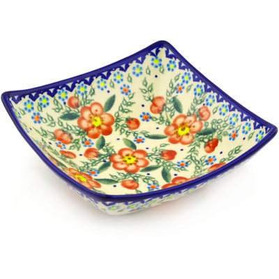 "Polish Pottery Square Bowl 8"" Peach Tudor Rose"