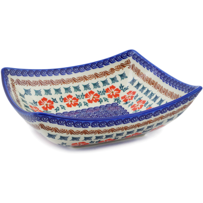 "Polish Pottery Square Bowl 8"" Red Cornflower"