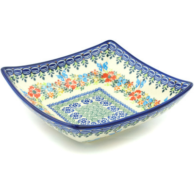 "Polish Pottery Square Bowl 8"" Ring Of Flowers UNIKAT"