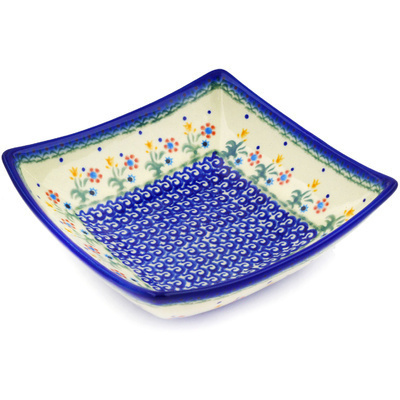 "Polish Pottery Square Bowl 8"" Spring Flowers"