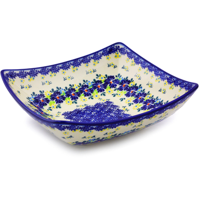 "Polish Pottery Square Bowl 8"" Spring Meadow"