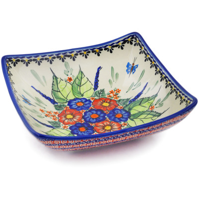 "Polish Pottery Square Bowl 8"" Spring Splendor UNIKAT"