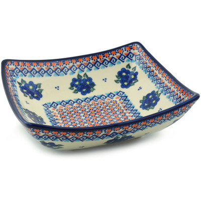 "Polish Pottery Square Bowl 8"" Summer Flowers"