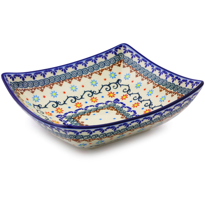"Polish Pottery Square Bowl 8"" Sunflower Dance"