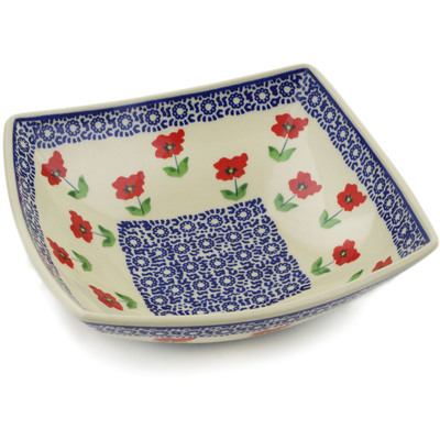 "Polish Pottery Square Bowl 8"" Wind-blown Poppies"
