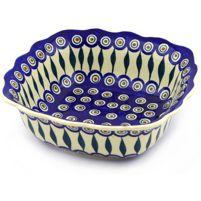 "Polish Pottery Square Bowl 9"" Peacock"