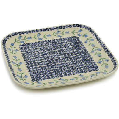 "Polish Pottery Square Plate 10"" Sweet Dreams"