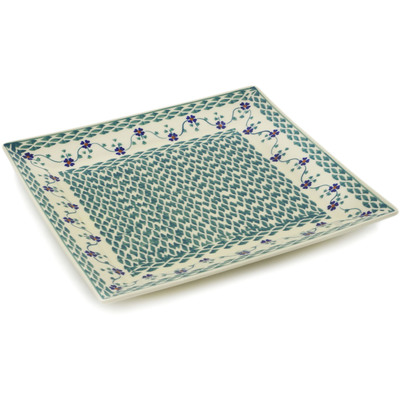 "Polish Pottery Square Plate 11"" Lucky Blue Clover"