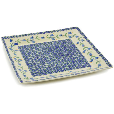 "Polish Pottery Square Plate 11"" Sweet Dreams"