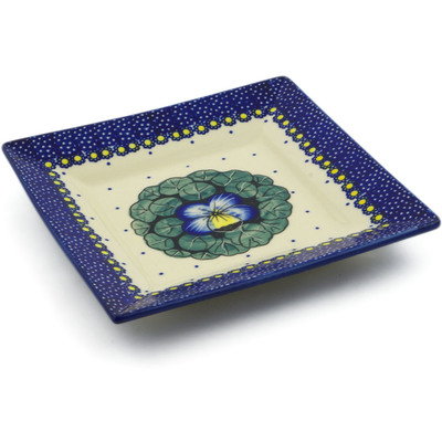 "Polish Pottery Square Plate 7"" Flower In The Grass UNIKAT"
