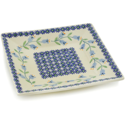 "Polish Pottery Square Plate 7"" Sweet Dreams"