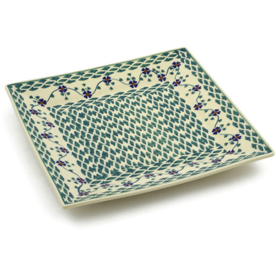 "Polish Pottery Square Plate 9"" Lucky Blue Clover"