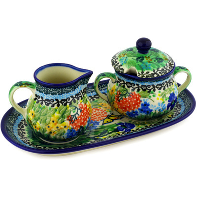 "Polish Pottery Sugar and Creamer Set 10"" Butterfly Garden UNIKAT"