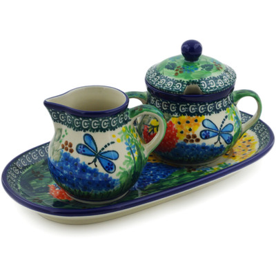 "Polish Pottery Sugar and Creamer Set 10"" Garden Delight UNIKAT"