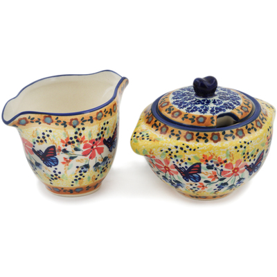 Polish Pottery Sugar and Creamer Set Butterfly Summer Garden UNIKAT