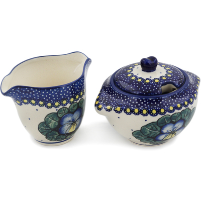Polish Pottery Sugar and Creamer Set Flower In The Grass UNIKAT