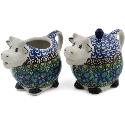Polish Pottery Sugar and Creamer Set Mardi Gra UNIKAT