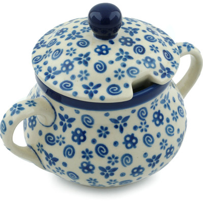 Polish Pottery Sugar Bowl 11 oz Blue Confetti