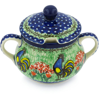 Polish Pottery Sugar Bowl 11 oz Rooster Dance UNIKAT