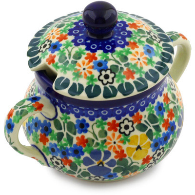 Polish Pottery Sugar Bowl 11 oz Spring Garden UNIKAT