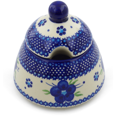 Polish Pottery Sugar Bowl 12 oz Bleu-belle Fleur