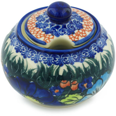 Polish Pottery Sugar Bowl 12 oz Butterfly Splendor UNIKAT