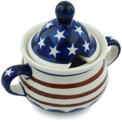 Polish Pottery Sugar Bowl 12 oz Stars And Stripes Forever