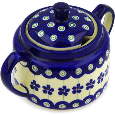 Polish Pottery Sugar Bowl 14 oz Flowering Peacock